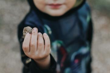 toddler rock picking